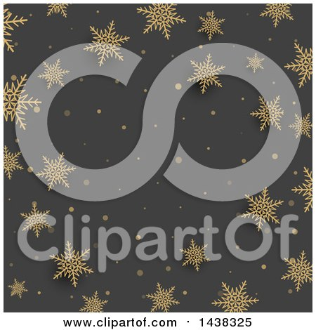 Clipart Of A Gray Christmas Background With Gold Snowflakes Royalty Free Vector Illustration
