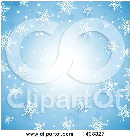 Clipart of a Blue Christmas Background with Snowflakes - Royalty Free Vector Illustration by KJ Pargeter