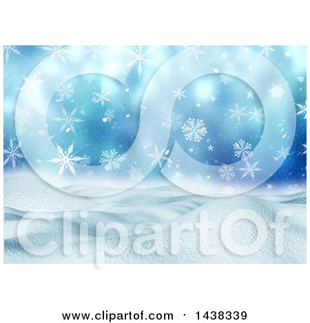 Clipart of a 3d Winter or Christmas Background of a Snowy Landscape with Snowflakes on Blue - Royalty Free Illustration by KJ Pargeter