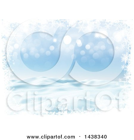 Clipart of a 3d Winter or Christmas Background of a Snowy Landscape with a Border of Snowflakes on Blue - Royalty Free Illustration by KJ Pargeter
