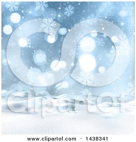 Clipart of a 3d Winter or Christmas Background of a Snowy Landscape with Snowflakes and Flares - Royalty Free Illustration by KJ Pargeter