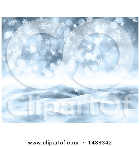Clipart of a 3d Winter or Christmas Background of a Snowy Landscape with Flares and Snowflakes - Royalty Free Illustration by KJ Pargeter
