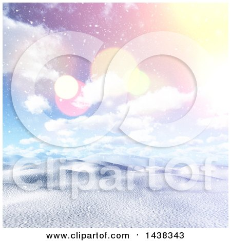 Clipart of a 3d Winter or Christmas Background of a Hilly Snowy Landscape with a Sunrise - Royalty Free Illustration by KJ Pargeter