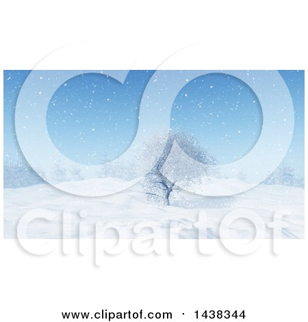 Clipart of a 3d Winter or Christmas Background of a Snowy Landscape with a Tree - Royalty Free Illustration by KJ Pargeter