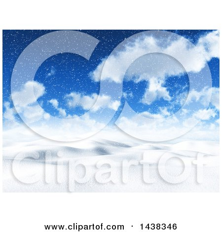 Clipart of a 3d Snowy Winter or Christmas Day Landscape Background - Royalty Free Illustration by KJ Pargeter