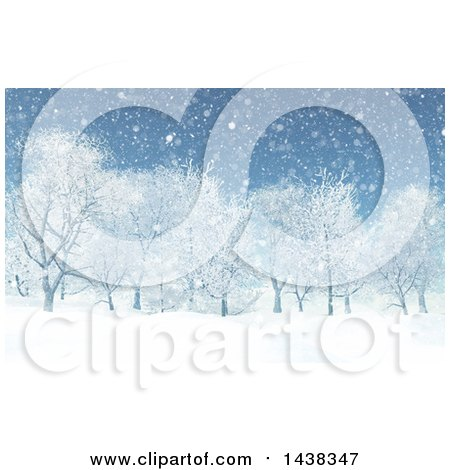 Clipart of a 3d Winter or Christmas Background of a Snowy Landscape with Trees - Royalty Free Illustration by KJ Pargeter