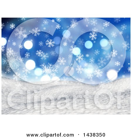 Clipart of a 3d Winter or Christmas Background of a Snowy Landscape with Snowflakes and Flares on Blue - Royalty Free Illustration by KJ Pargeter