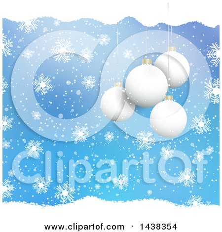Clipart of a Christmas Background of 3d Suspended Bauble Ornaments Blue with Snow and Snowflakes - Royalty Free Vector Illustration by KJ Pargeter