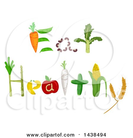 Clipart of Eat Healthy Words Formed of Produce - Royalty Free Vector Illustration by BNP Design Studio