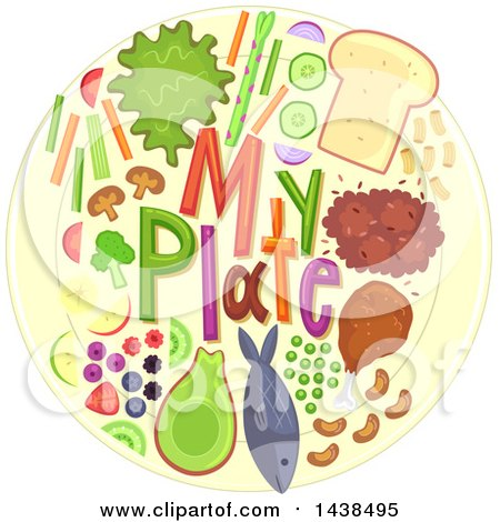 Clipart of My Plate Text with Food - Royalty Free Vector Illustration by BNP Design Studio