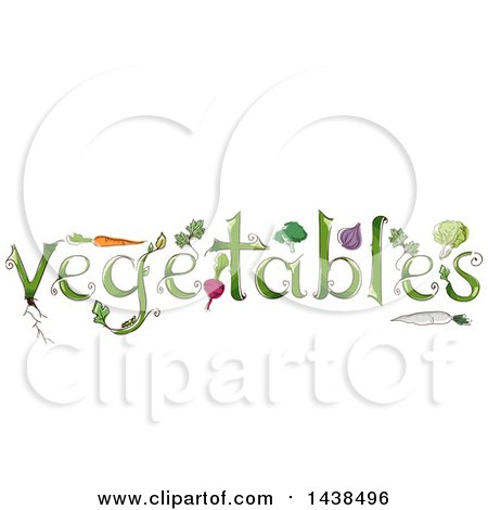 Sketched Word VEGETABLES with Produce Posters, Art Prints