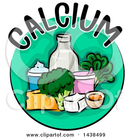 Clipart of a Green Icon with Calcium Text and Food - Royalty Free Vector Illustration by BNP Design Studio