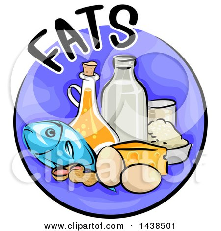 Clipart of a Purple Icon with Fats Text and Food - Royalty Free Vector Illustration by BNP Design Studio