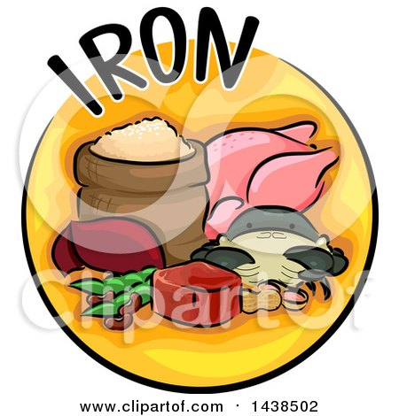Clipart of a Yellow Icon with Iron Text and Food - Royalty Free Vector Illustration by BNP Design Studio