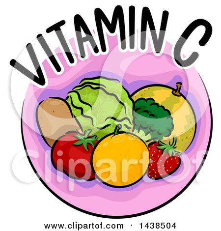 Clipart of a Pink Icon with Vitamin C Text and Food - Royalty Free Vector Illustration by BNP Design Studio