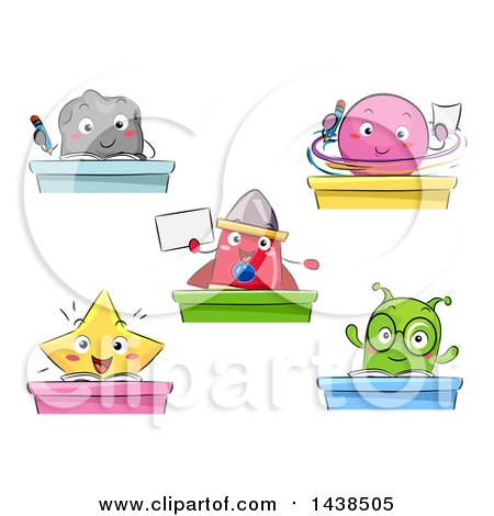 Clipart of Space Creature Students at Desks - Royalty Free Vector Illustration by BNP Design Studio