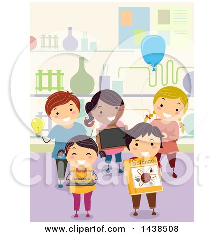 Clipart of a Group of Proud School Children Presenting Science Projects - Royalty Free Vector Illustration by BNP Design Studio