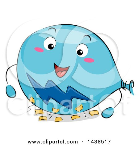 Happy Balloon Mascot Rubbing Against Paper To Show Static Electricity
