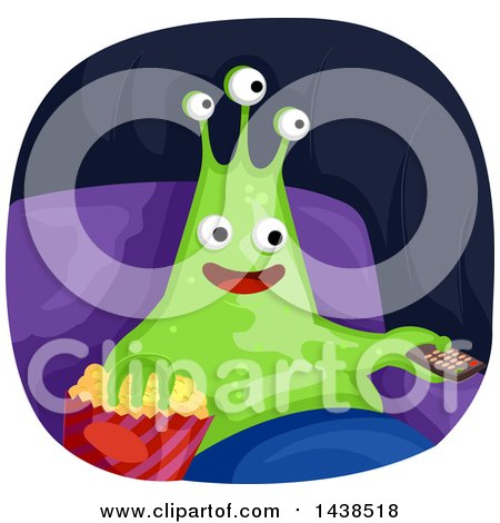 Clipart of a Happy Alien Watching Tv and Eating Popcorn - Royalty Free Vector Illustration by BNP Design Studio