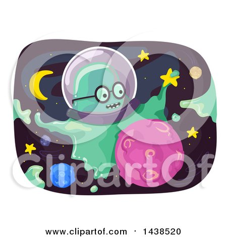 Clipart of a Slime Monster in Outer Space - Royalty Free Vector Illustration by BNP Design Studio