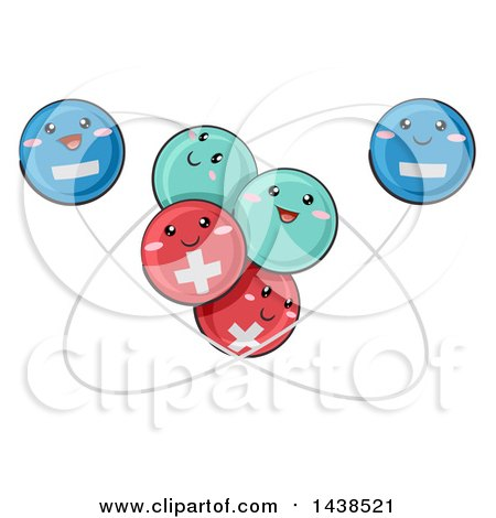 Clipart of a Scientific Atomic Model Featuring Positive, Negative, and Neutral Particles - Royalty Free Vector Illustration by BNP Design Studio