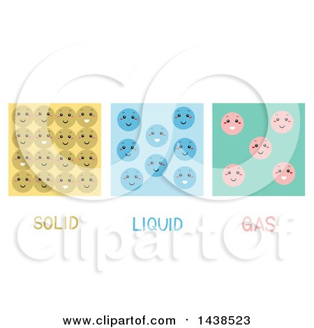 Clipart of a Particle Model Featuring the Molecules of Solids, Liquids, and Gases - Royalty Free Vector Illustration by BNP Design Studio