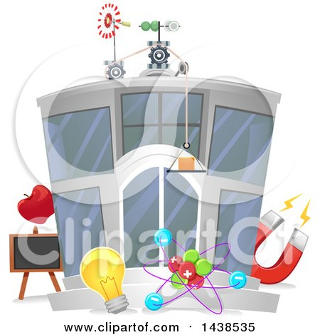 Clipart of a Physics Research Center Building - Royalty Free Vector Illustration by BNP Design Studio