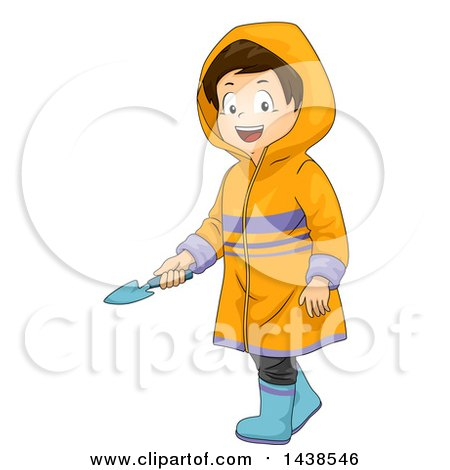 Clipart of a Happy Brunette White Boy Wearing a Rain Coat and Holding a Garden Trowel - Royalty Free Vector Illustration by BNP Design Studio