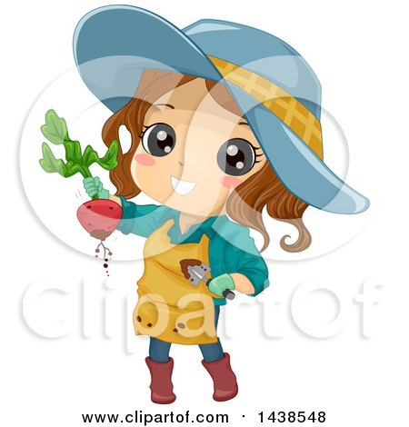 Clipart of a Brunette White Girl Holding up a Beet from Her Garden - Royalty Free Vector Illustration by BNP Design Studio