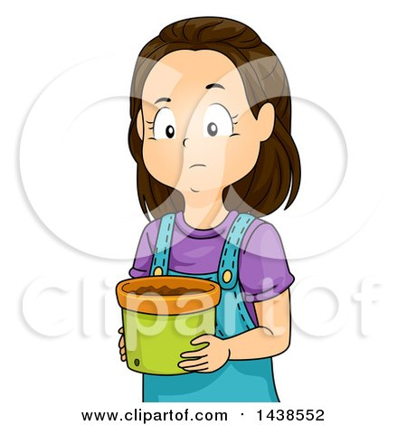 Clipart of a Sad Brunette White Girl Holding a Pot Without a Plant - Royalty Free Vector Illustration by BNP Design Studio