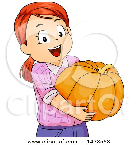 Clipart of a Happy Red Haired White Girl Carrying a Pumpkin - Royalty Free Vector Illustration by BNP Design Studio