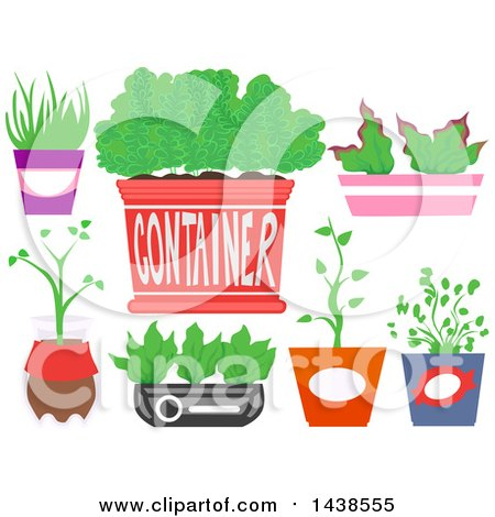 Clipart of Recycled Containers for Indoor Plants - Royalty Free Vector Illustration by BNP Design Studio