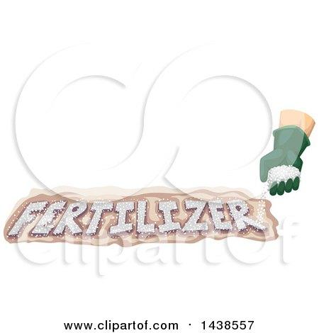 Clipart of a Gardener's Hand Sprinkling Fertilizer on Soil - Royalty Free Vector Illustration by BNP Design Studio
