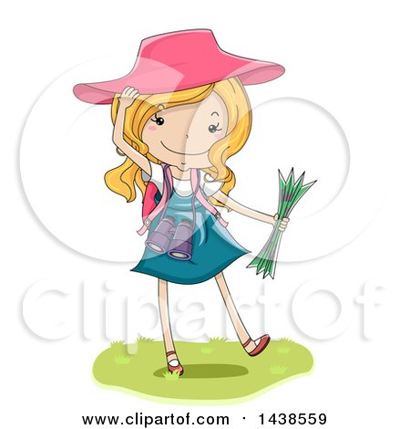 Clipart of a Happy White Girl Exploring and Holding a Map - Royalty Free Vector Illustration by BNP Design Studio