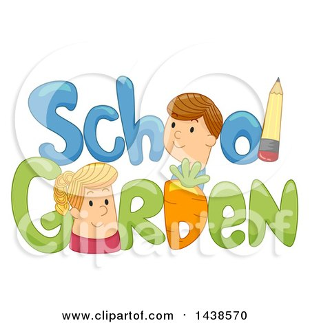 Clipart of the Words School Garden Decorated with a Pencil and a Carrot - Royalty Free Vector Illustration by BNP Design Studio