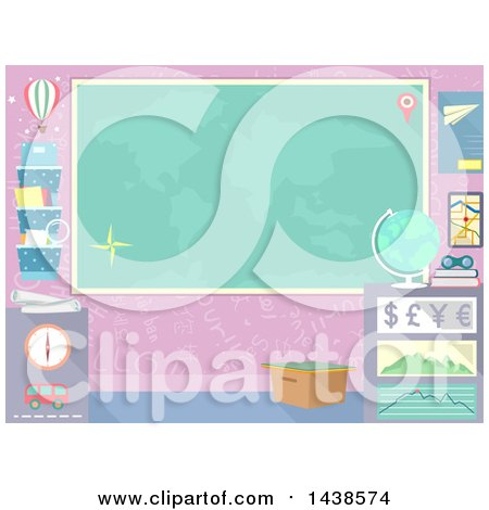 Clipart of a Map on a Wall in a Geography Room - Royalty Free Vector Illustration by BNP Design Studio