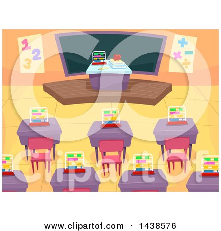 Clipart of a Math Class Room with Desks and a Chalk Board - Royalty Free Vector Illustration by BNP Design Studio