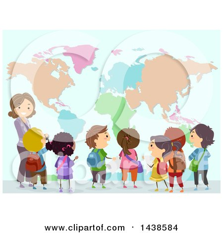 Clipart of a Female Teacher and Group of School Children Looking at a World Map - Royalty Free Vector Illustration by BNP Design Studio