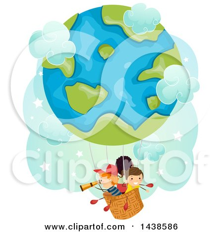 Clipart of a Group of Children Riding in a Globe Hot Air Balloon - Royalty Free Vector Illustration by BNP Design Studio