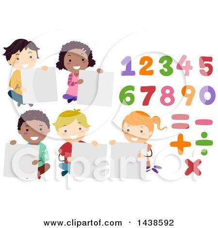 Clipart of a Group of School Children Holding Blank Signs, with Numbers and Math Symbols - Royalty Free Vector Illustration by BNP Design Studio