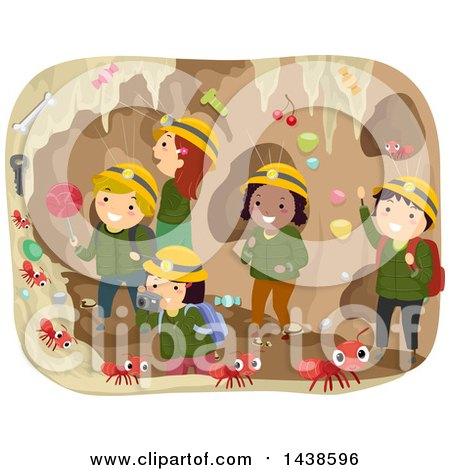 Clipart of a Group of School Children in an Ant Tunnel - Royalty Free Vector Illustration by BNP Design Studio