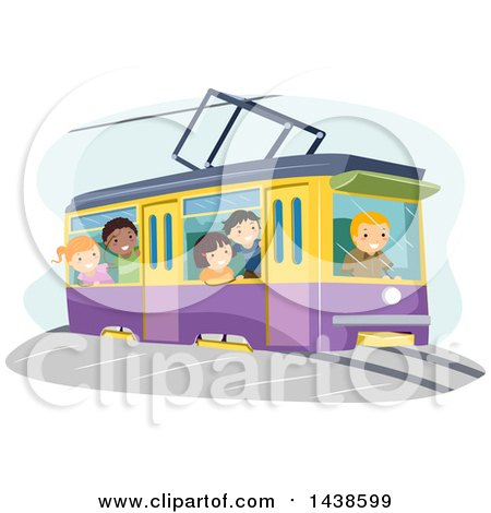 Clipart of a Group of Children Riding a Tram - Royalty Free Vector Illustration by BNP Design Studio