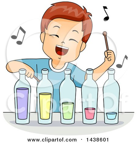 Clipart of a Happy Brunette White Boy Playing Music with Bottles - Royalty Free Vector Illustration by BNP Design Studio