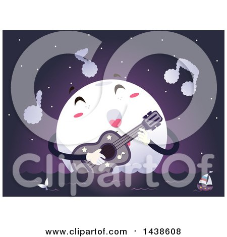 Clipart of a Moon Mascot Singing a Love Song and Strumming a Guitar over the Ocean at Night - Royalty Free Vector Illustration by BNP Design Studio