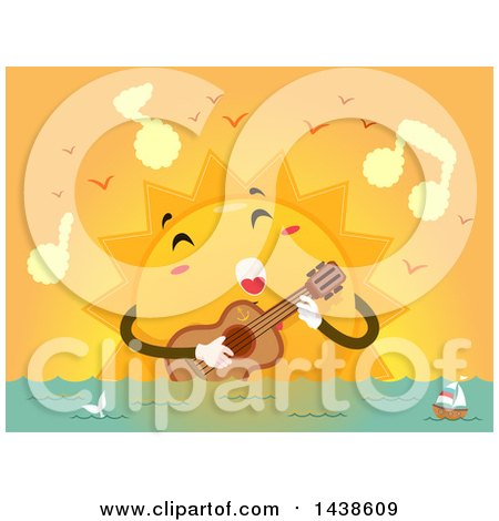 Clipart of a Sun Mascot Singing a Love Song and Strumming a Guitar over the Ocean - Royalty Free Vector Illustration by BNP Design Studio