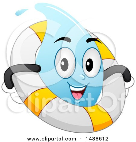 Clipart of a Water Drop Mascot Floating with a Life Buoy Inner Tube - Royalty Free Vector Illustration by BNP Design Studio