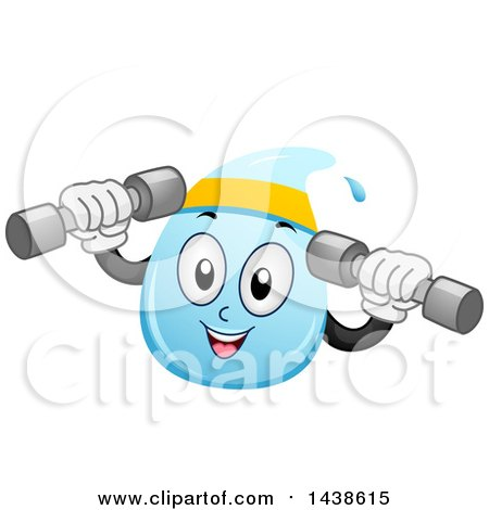 Clipart of a Water Drop Mascot Working out with Dumbbell Weights - Royalty Free Vector Illustration by BNP Design Studio