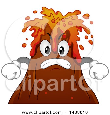 Clipart of a Furious Volcano Mascot Spewing Lava - Royalty Free Vector Illustration by BNP Design Studio