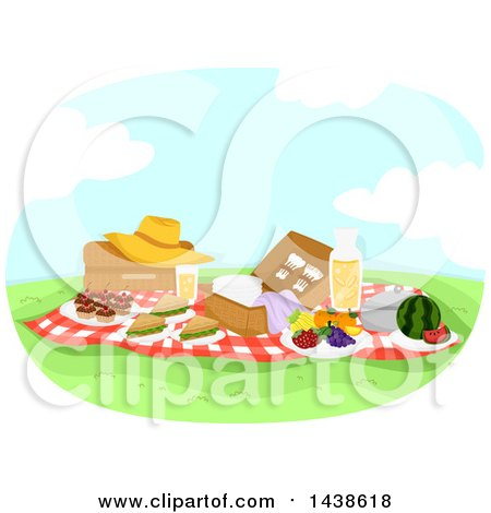 Clipart of a Picnic with Food on a Sunny Day - Royalty Free Vector Illustration by BNP Design Studio
