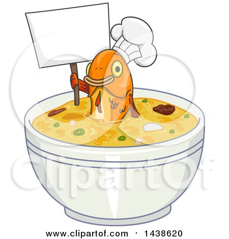 Clipart of a Fish Chef Holding up a Blank Sign in a Bowl of Soup - Royalty Free Vector Illustration by BNP Design Studio